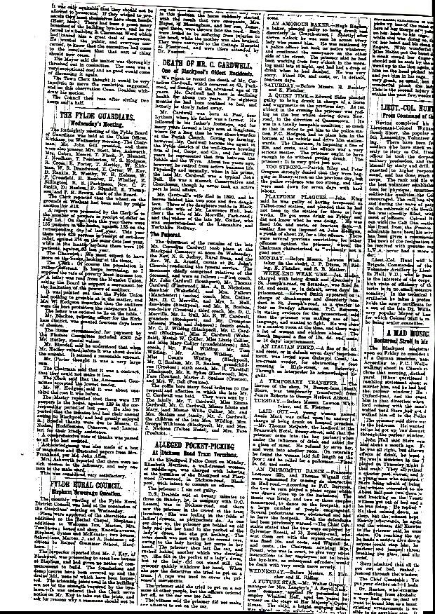 newspaper announcement of the death of cornelius cardwell