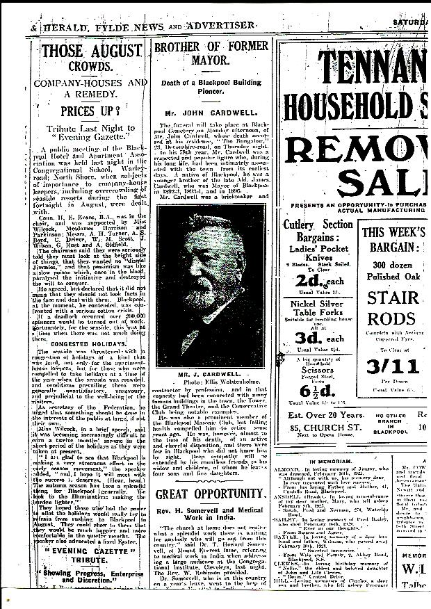 newspaper announcement of the death of john cardwell