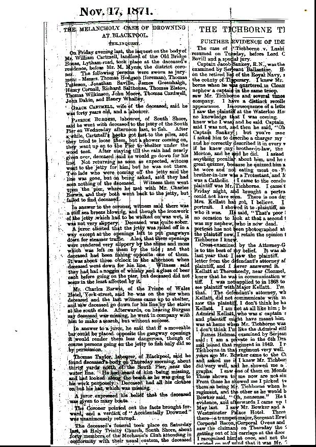 newspaper article on the inquest of william cartmell 1871